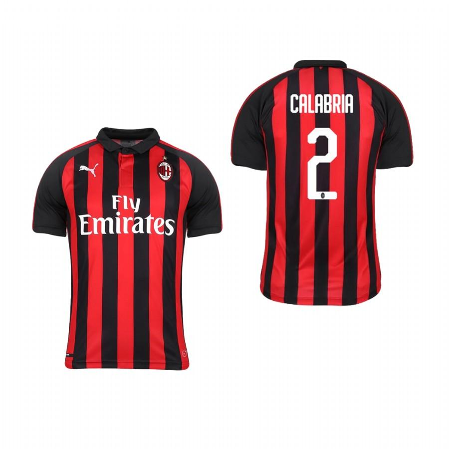Youth AC Milan 18-19 Red Black Davide Calabria #2 Home Jersey - XXS