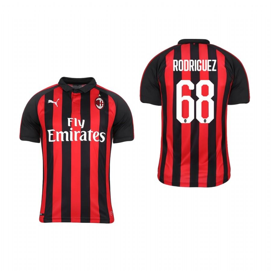 Youth AC Milan 18-19 Red Black Ricardo Rodriguez #68 Home Jersey - XXS