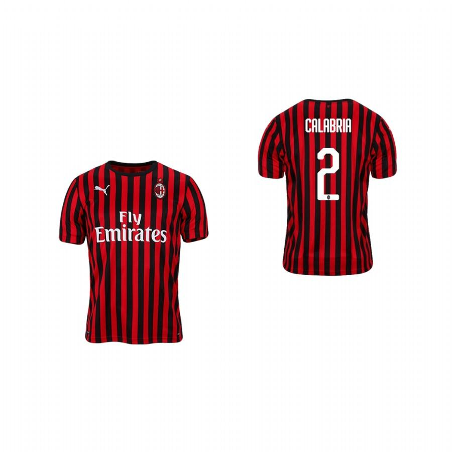 Youth AC Milan 19-20 Davide Calabria #2 Home Jersey - Red Black - XXS