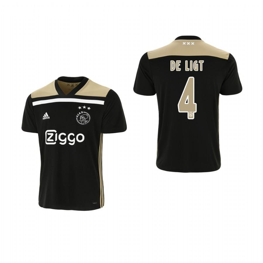 Youth Ajax 18-19 Black Matthijs de Ligt #4 Away Jersey - XXS