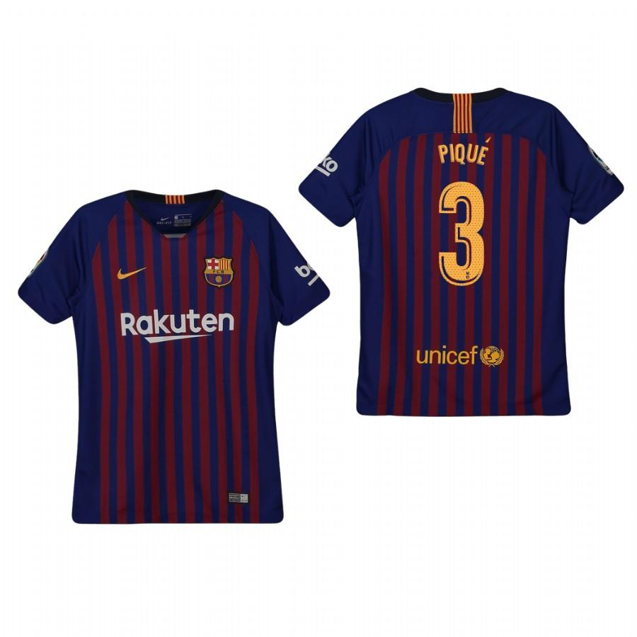 Youth Barcelona 18-19 Blue Gerard Pique #3 Home Jersey - XXS