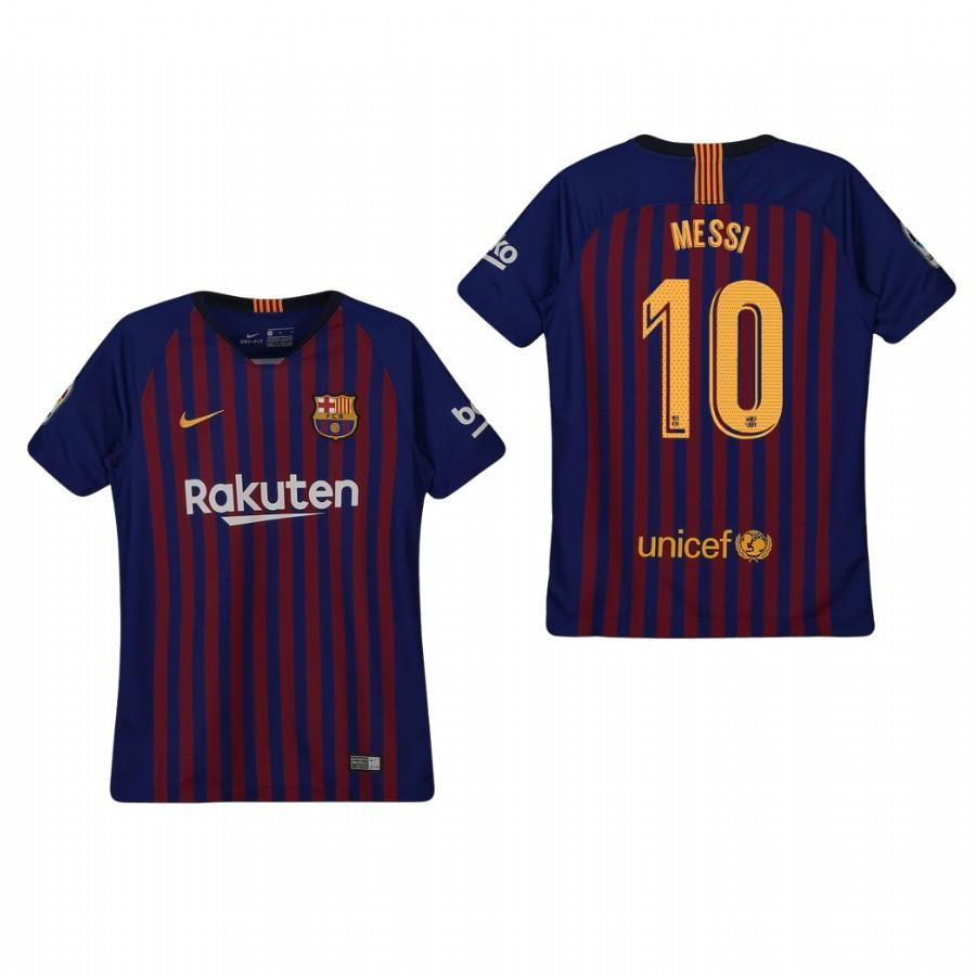Youth Barcelona 18-19 Blue Lionel Messi #10 Home Jersey - XXS