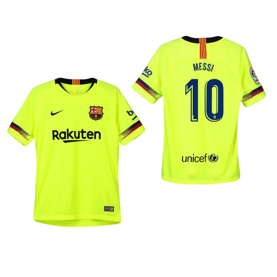 Youth Barcelona 18-19 Yellow Lionel Messi #10 Away Jersey - XXS