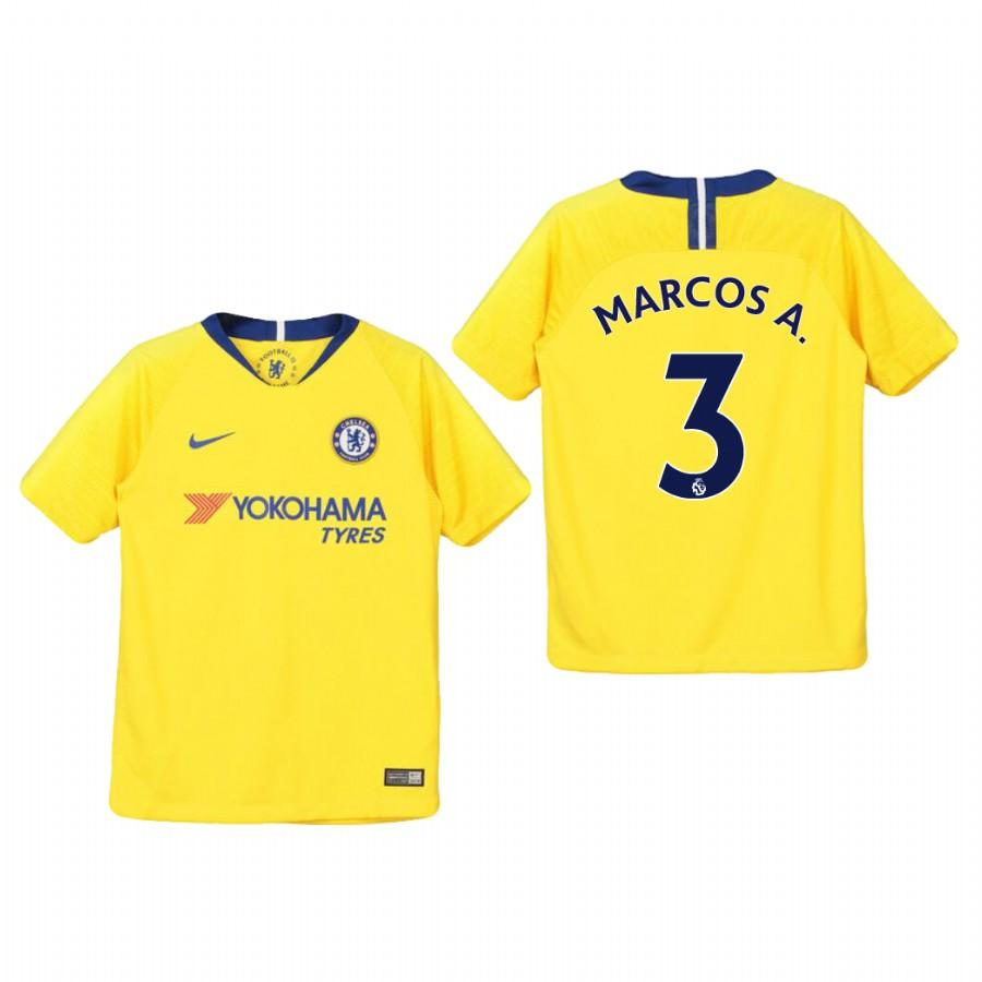 Youth Chelsea 18-19 Yellow Marcos Alonso #3 Away Jersey - XXS