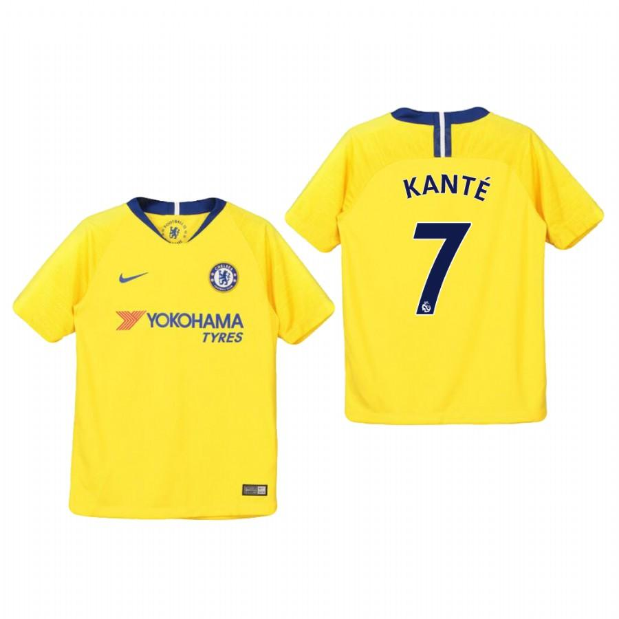Youth Chelsea 18-19 Yellow NGolo Kante #7 Away Jersey - XXS