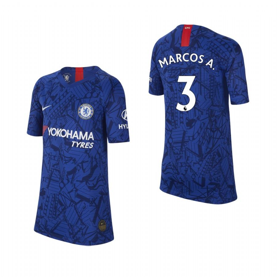 Youth Chelsea 19-20 Marcos Alonso #3 Home Jersey - Blue - XXS