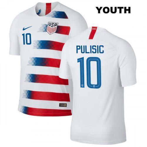 Youth Christian Pulisic Jersey #10 Home 2018/2019 Vapor Match Soccer White - XXS