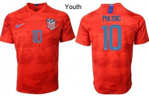 Youth Christian Pulisic Jersey #10 Red Away Soccer New Season 2019/2020 - XXS