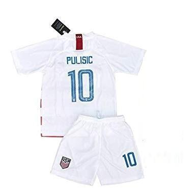 Youth Christian Pulisic Jersey And Shorts #10 Home 2018/2019 Soccer White - XXS