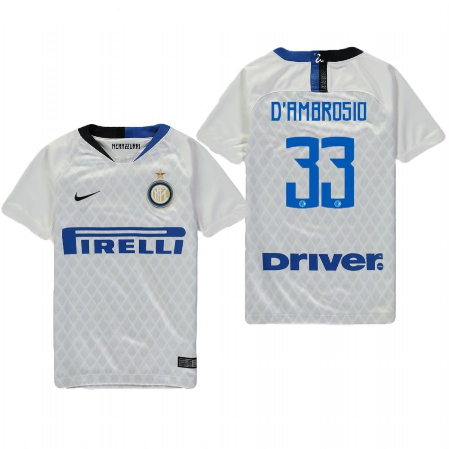 Youth Internazionale Milano 18-19 White Danilo DAmbrosio #33 Away Jersey - XXS