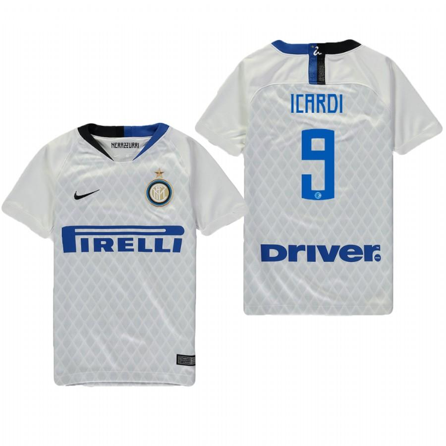 Youth Internazionale Milano 18-19 White Mauro Icardi #9 Away Jersey - XXS