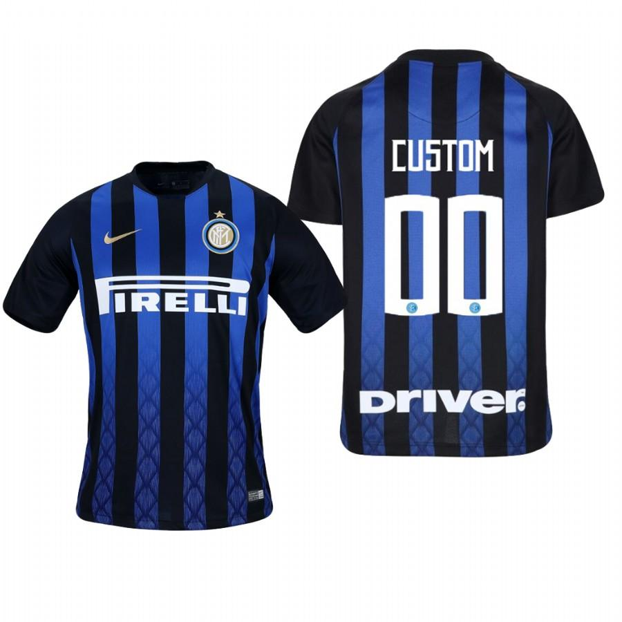 Youth Internazionale Milano Custom 18-19 Blue Black Home Jersey - XXS