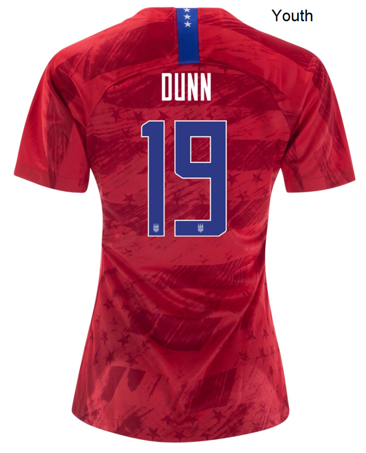 Youth Kids Crystal Dunn USWNT Away Red USA Player Soccer Jersey Uniforms Shirts 2019 - XXS