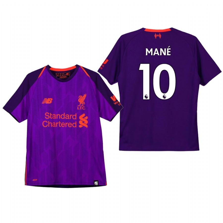 Youth Liverpool 18-19 Purple Sadio Mane #10 Away Jersey - XXS