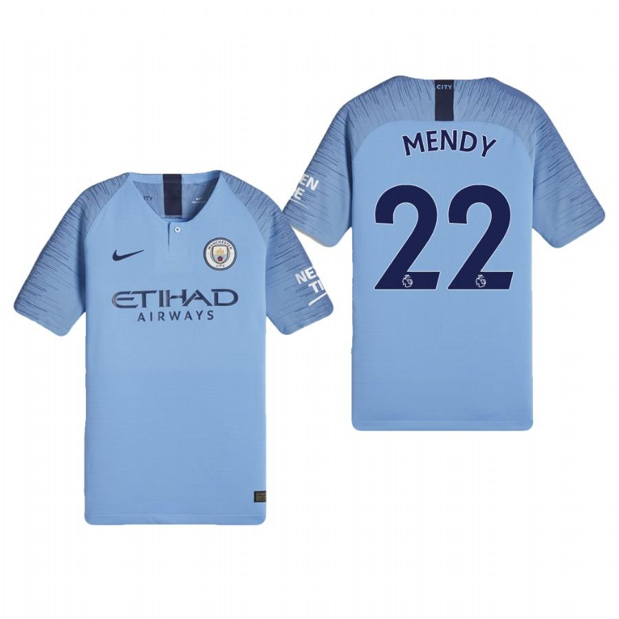Youth Manchester City 18-19 Light Blue Benjamin Mendy #22 Home Jersey - XXS