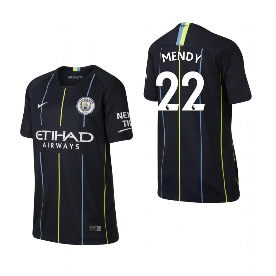 Youth Manchester City 18-19 Navy Benjamin Mendy #22 Away Jersey - XXS