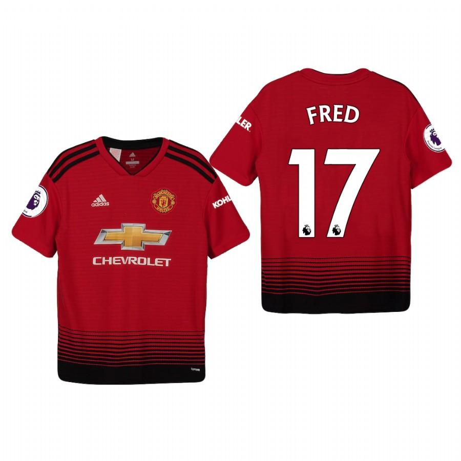 Youth Manchester United 18-19 Red Fred #17 Home Jersey - XXS