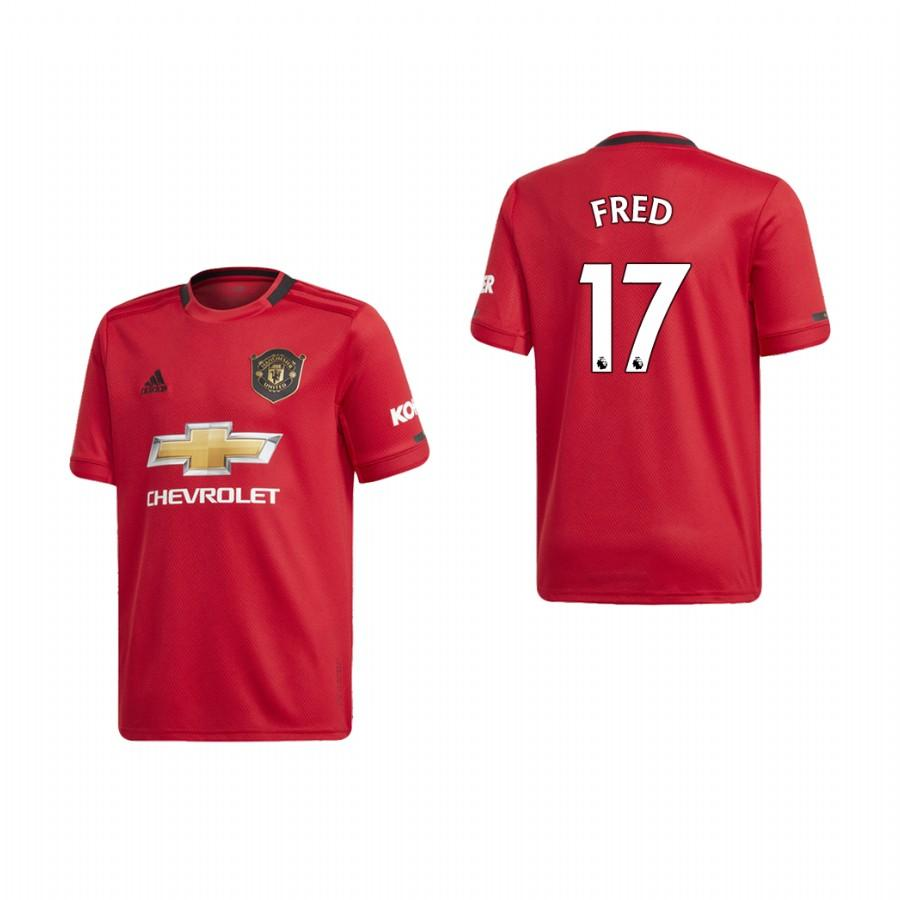 Youth Manchester United 19-20 Fred #17 Home Jersey - Red - XXS