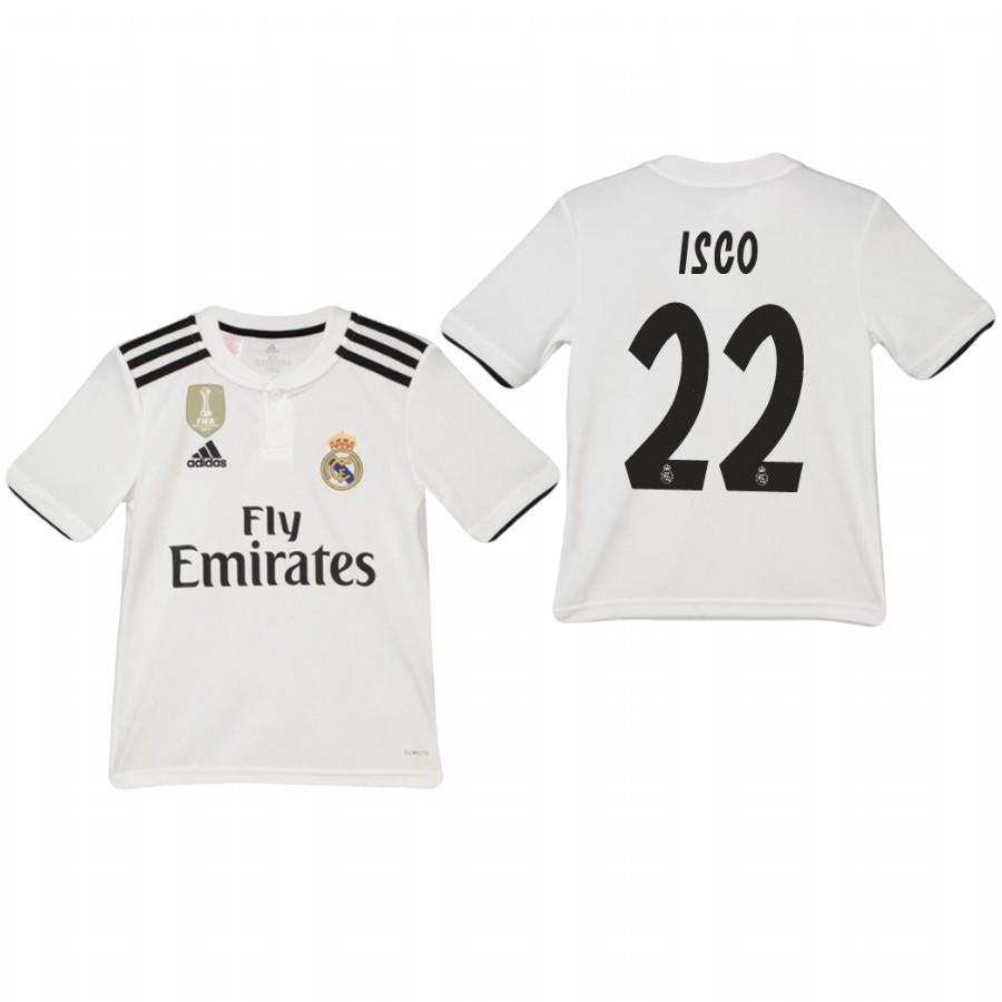 Youth Real Madrid 18-19 White Isco #22 Home Jersey - XXS