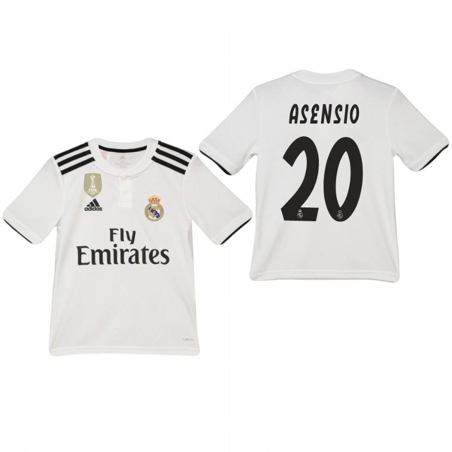 Youth Real Madrid 18-19 White Marco Asensio #20 Home Jersey - XXS