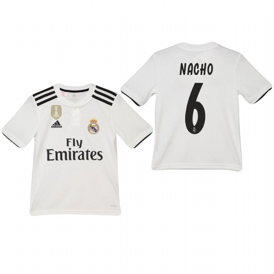 Youth Real Madrid 18-19 White Nacho #6 Home Jersey - XXS