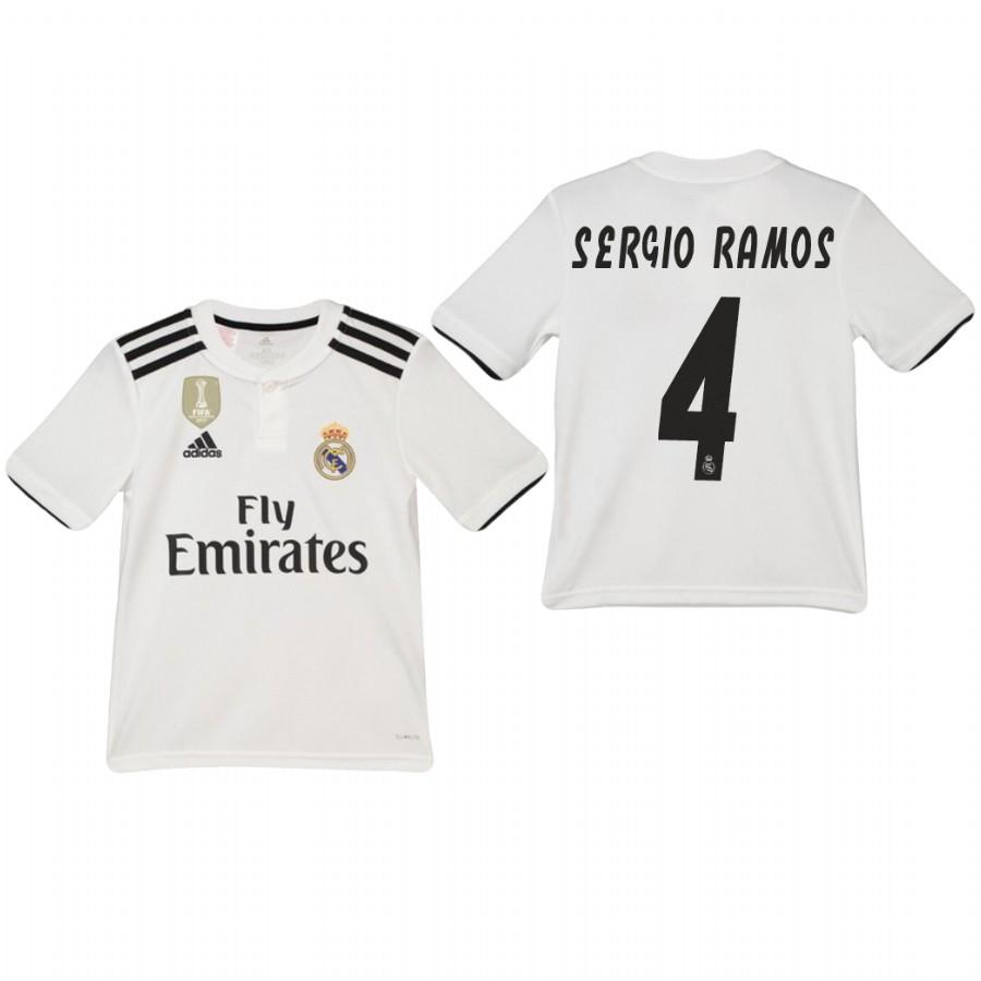 Youth Real Madrid 18-19 White Sergio Ramos #4 Home Jersey - XXS