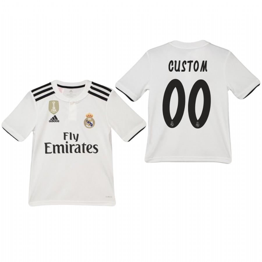 Youth Real Madrid Custom 18-19 White Home Jersey - XXS