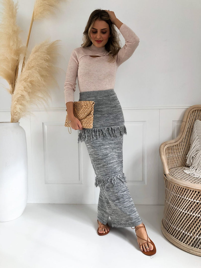 Lauren Knit Skirt - Grey