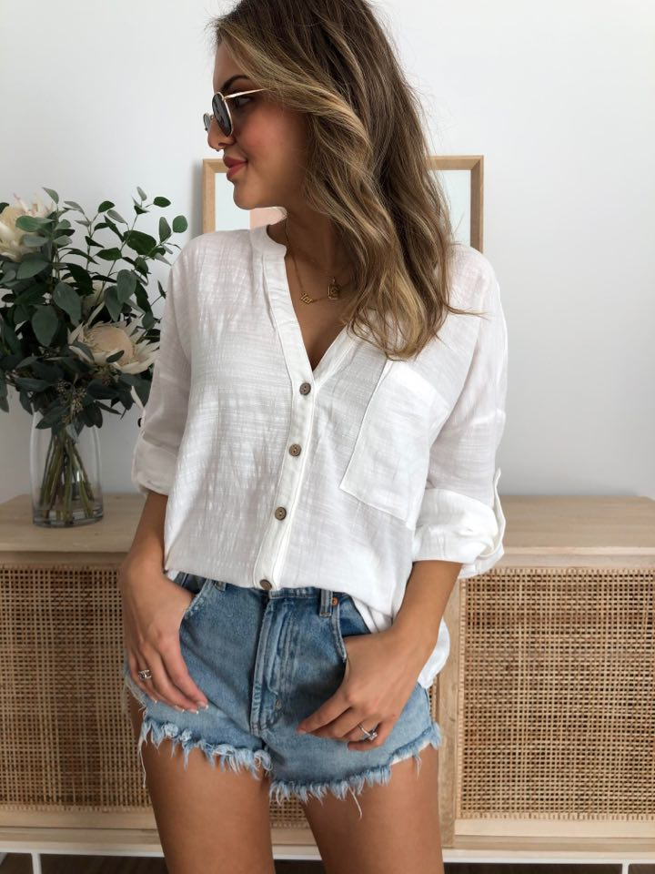 Hayley Linen Top - White