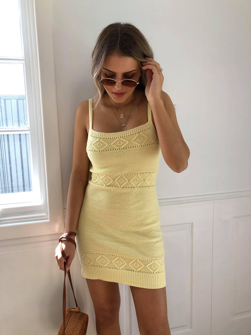 Rose Knit Dress - Lemon