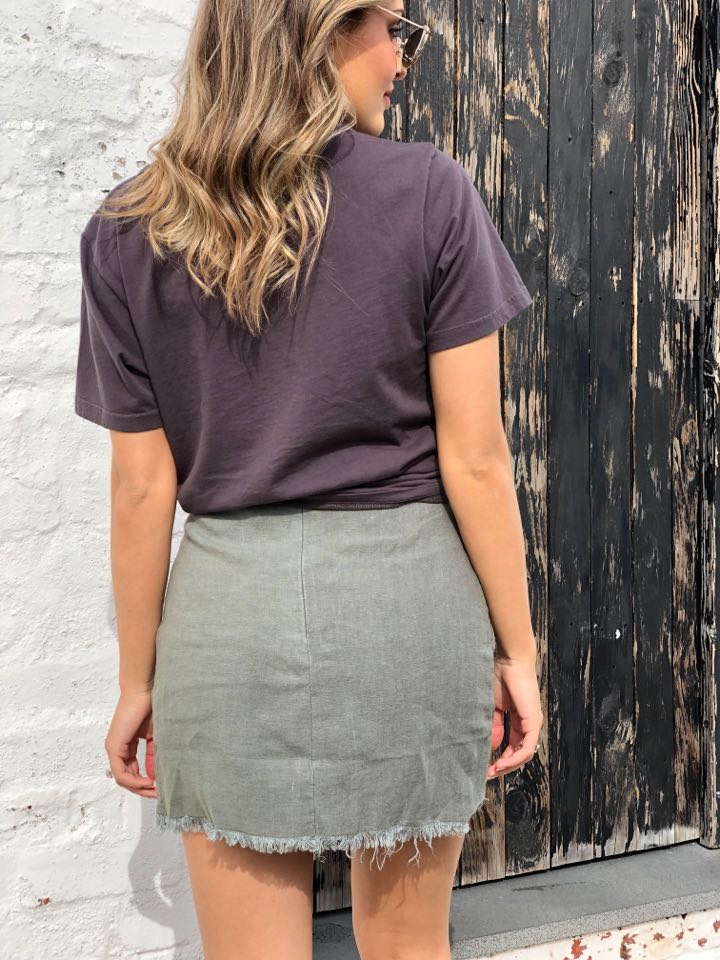 Linen Frayed Skirt - Khaki