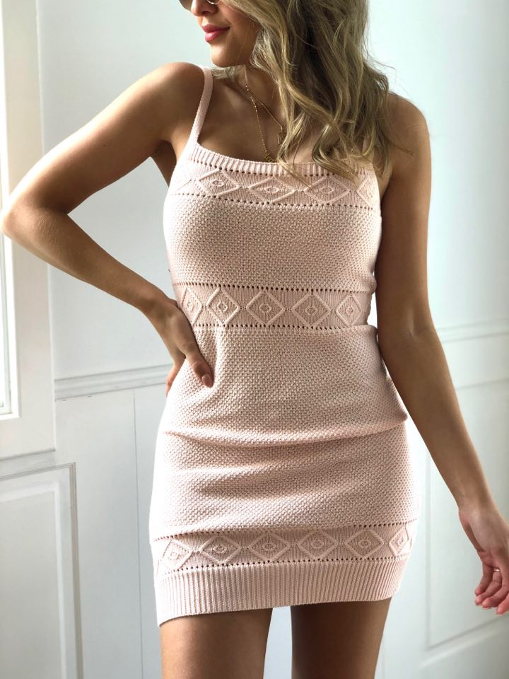 Rose Knit Dress - Pink