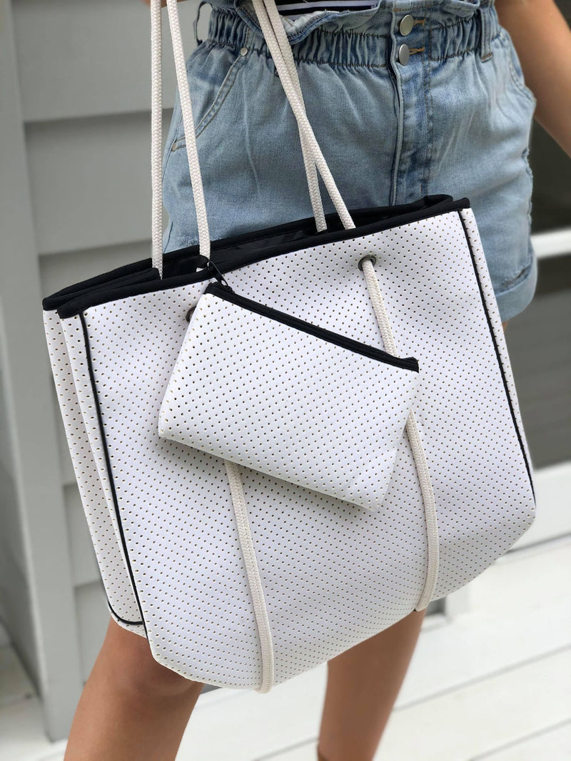 Ebony Tote Bag - White