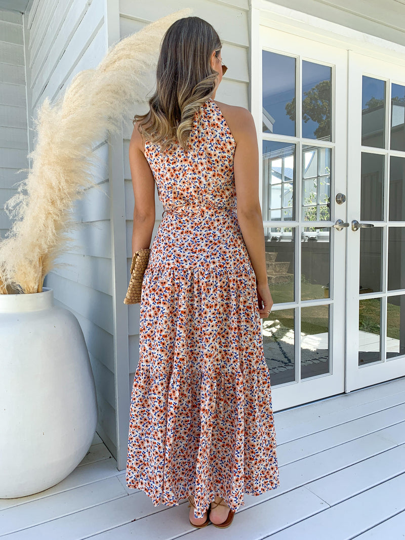 Kellia Dress - WHITE AND PEACH
