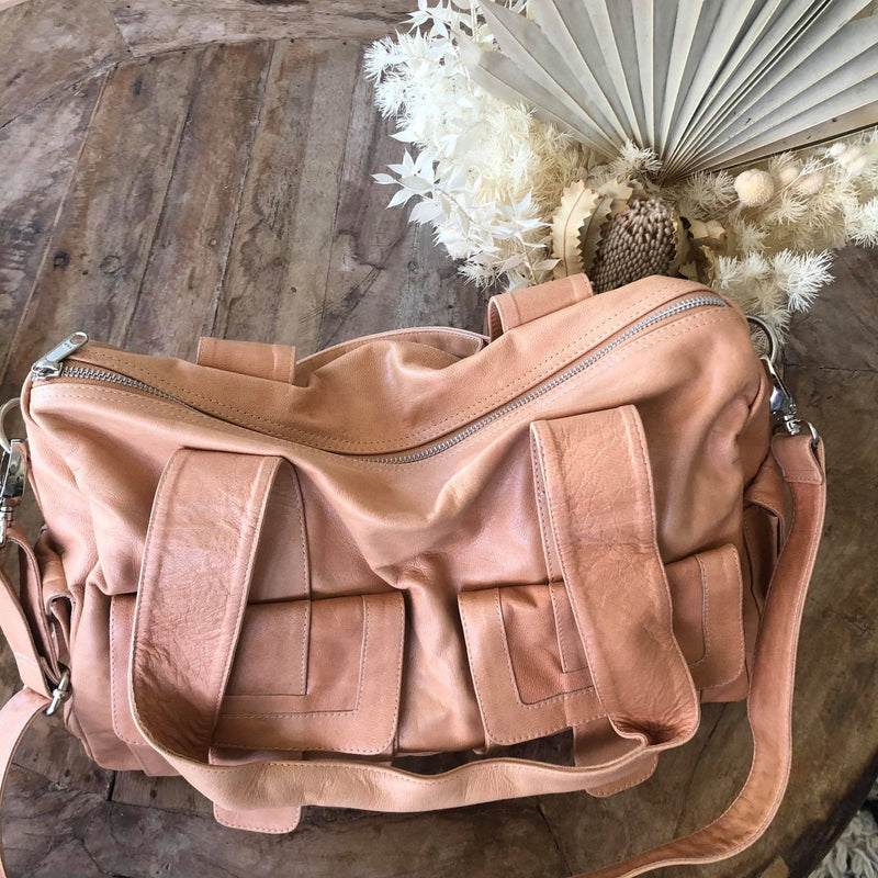 Mika Leather Baby/Overnighter bag - Light Tan
