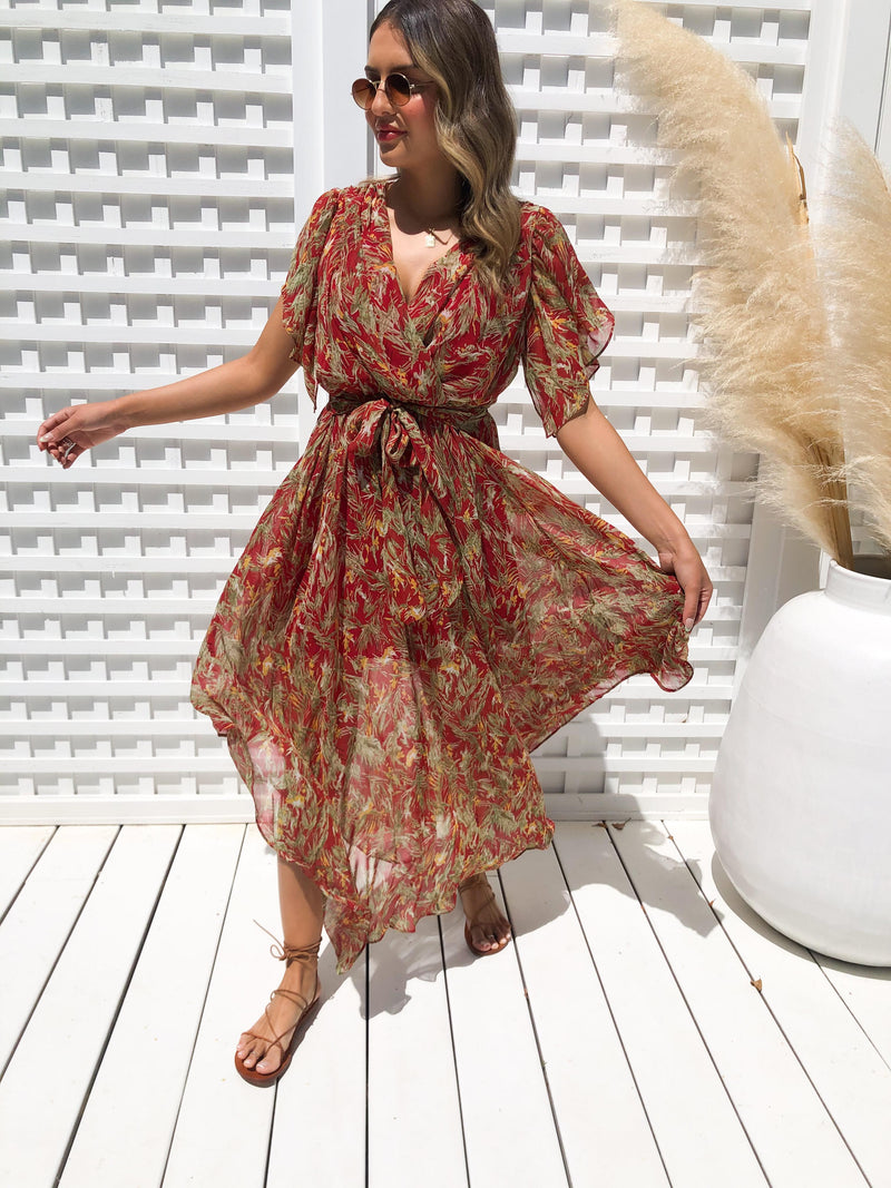 Lucia Maxi Dress - RED WITH FLORAL PRINT