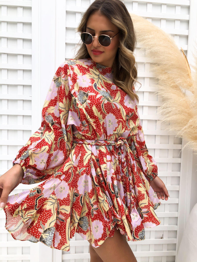 Twirl Dress - RED FLORAL