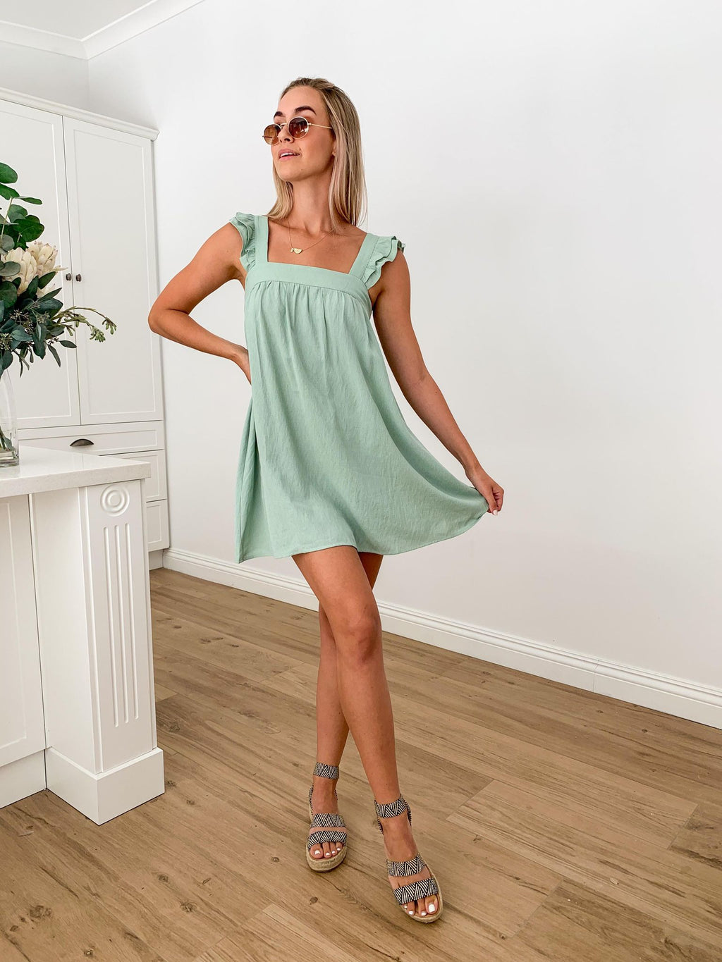 Raffa Baby Doll Dress - MINT