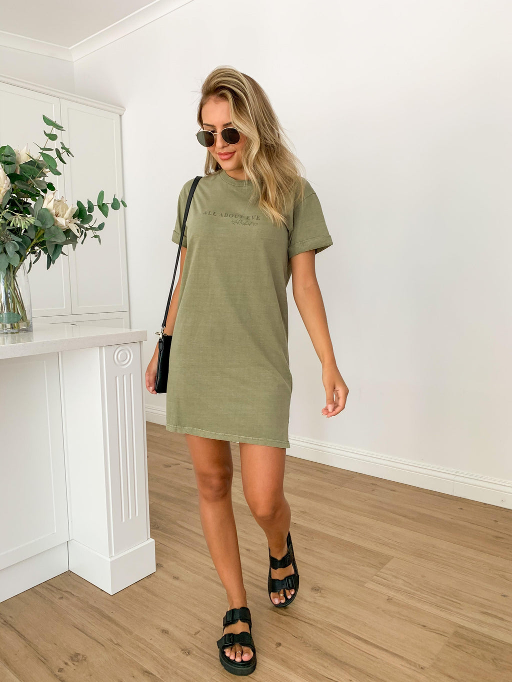All About Eve Washed Tee Dress - Khaki