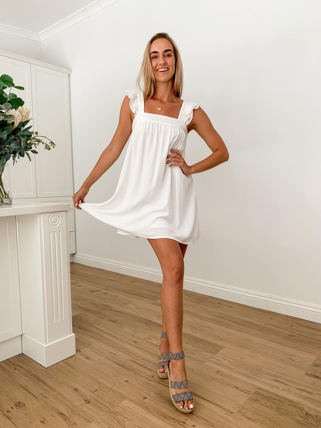 Raffa Baby Doll Dress - WHITE
