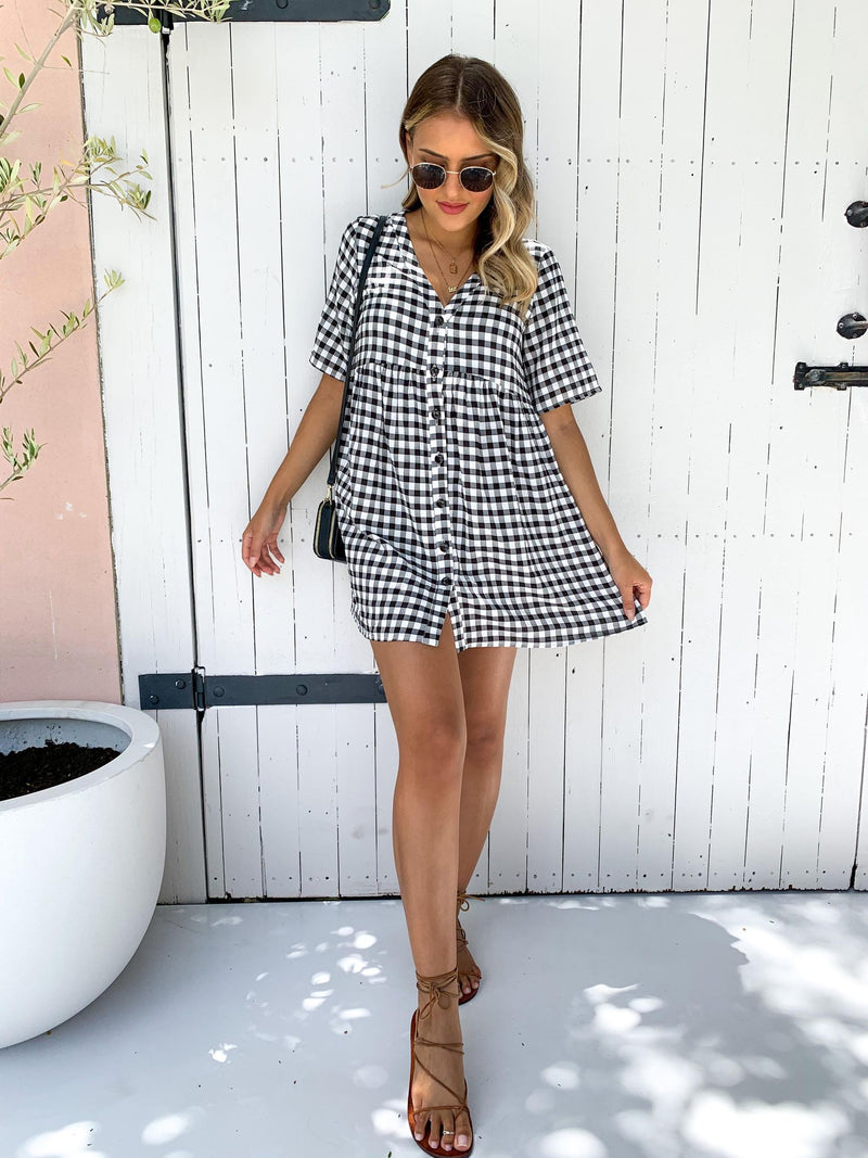 Jonah Dress - Black Check