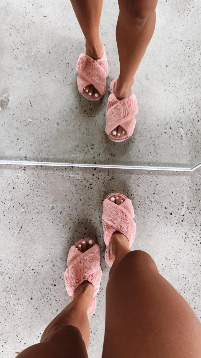 Skylar Fluffy Slippers - Rose  RESTOCKING SOON