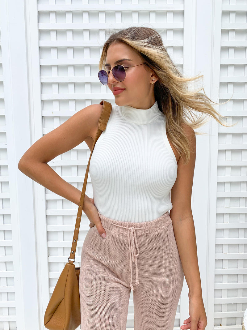 Rachelle High Neck Rib Top