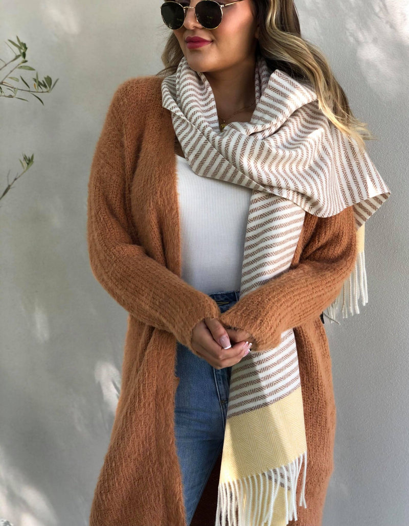 Stripes For You Scarf - Latte and Yellow