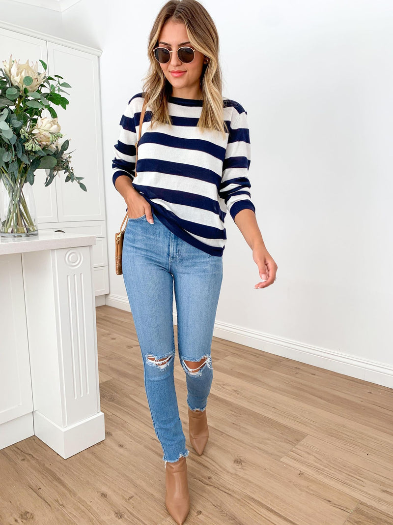 Petra Stripe Knit - Navy