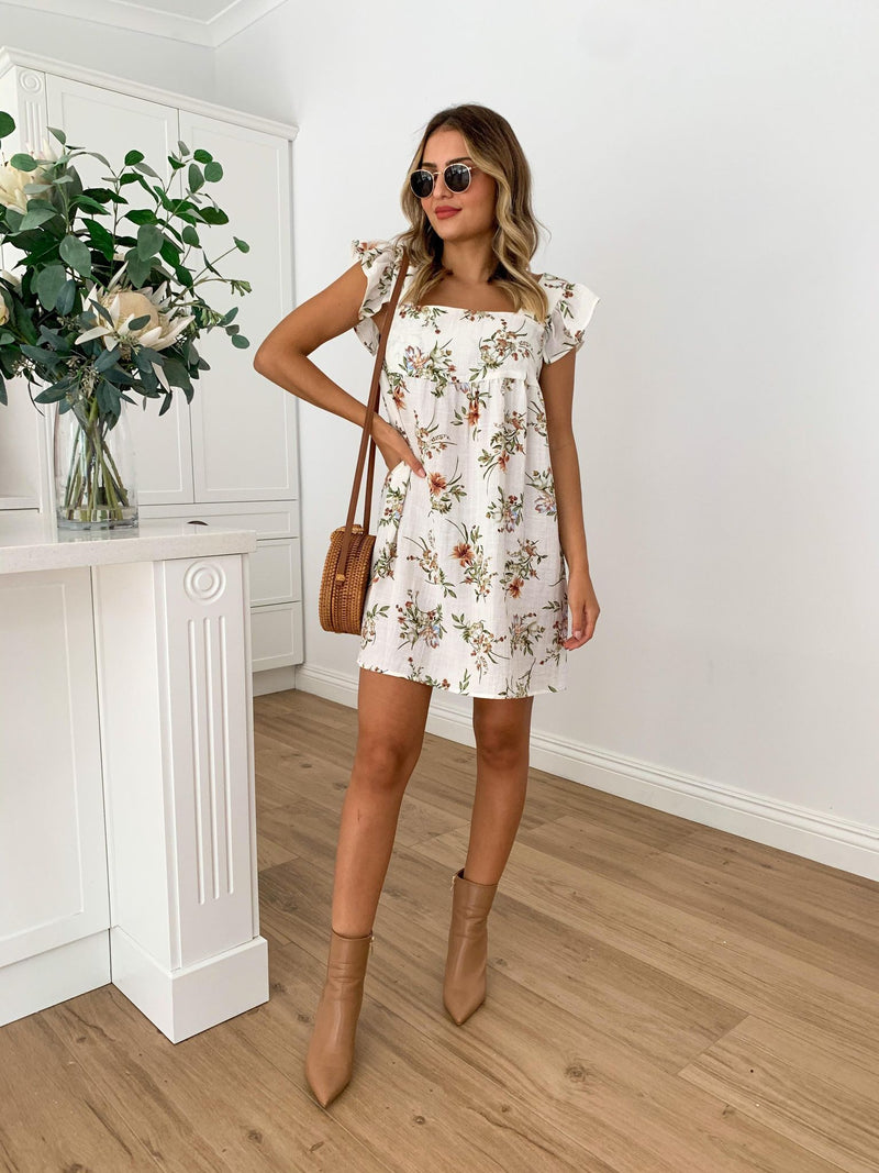 Molly Dress- WHITE FLORAL