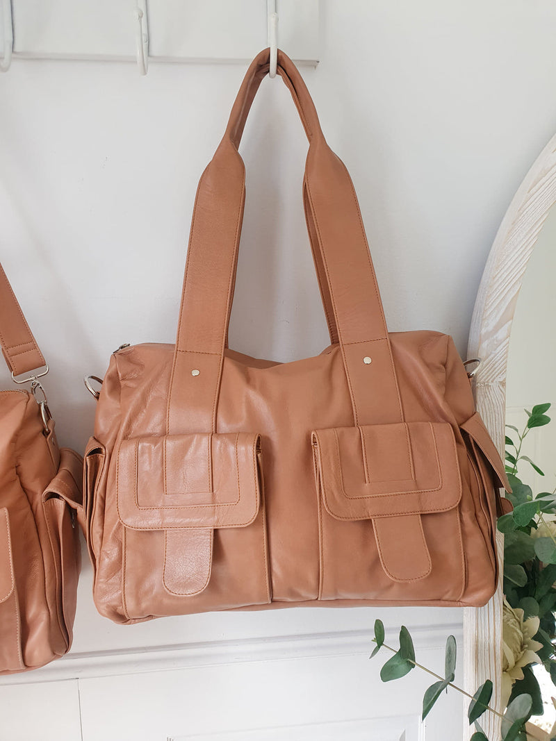 Mika Leather Baby/Overnighter bag - Tan