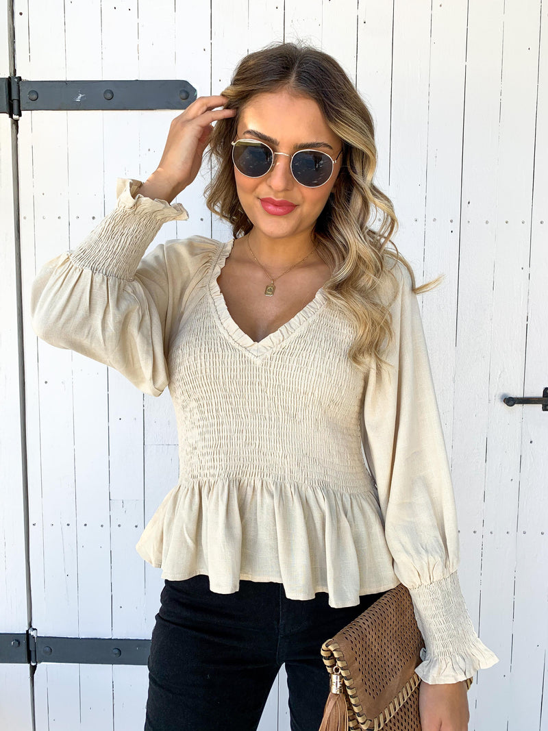 Shirred Top - OATMEAL