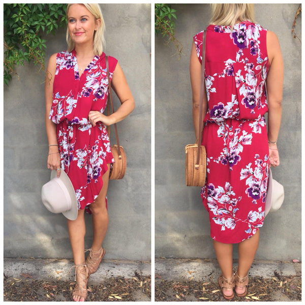 Frankie Dress - Red Floral
