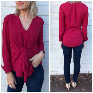 Chelsea Tie Blouse - Red